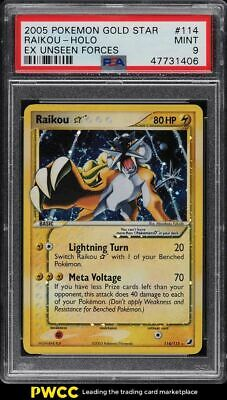 2005 Pokemon EX Unseen Forces Holo Raikou Gold Star #114 PSA 9 MINT