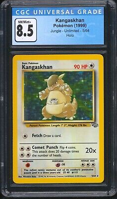 1999 Pokemon Jungle Unlimited KANGASKHAN 5/64 Holo Rare CGC 8.5 NM/Mint+ PSA