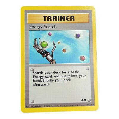 Pokemon Card Fossil 59/62 Energy Search Common  LP - Played