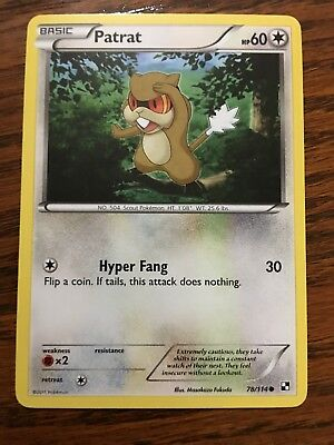 PATRAT Pokemon Card BLACK & WHITE 78/114 - NEW - Mint / Near Mint Normal Type x1