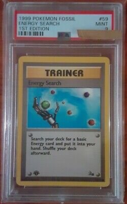 Pokemon Card Energy Search 1999 1st edition Fossil Set 59/62, PSA 9 Mint