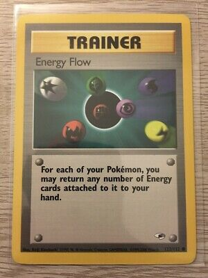 Energy Flow Pokemon Trainer Card TCG Gym Heroes 122/132 Vintage Played