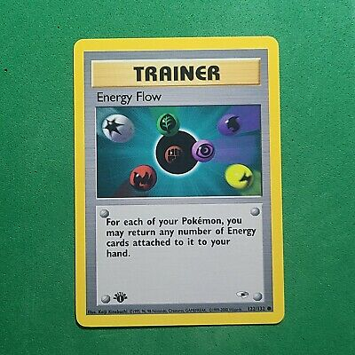 NM/Mint 1st Edition Energy Flow 122/132 Gym Heroes Pokemon Card WOTC