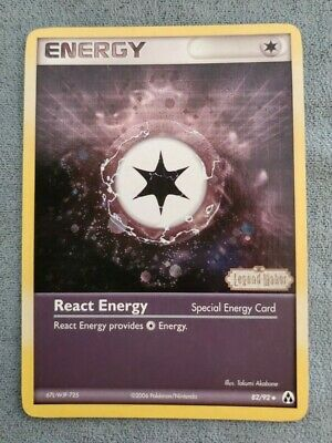 Pokemon Card React Energy 82/92 EX Legend Maker STAMPED REVERSE Holo NEAR MINT