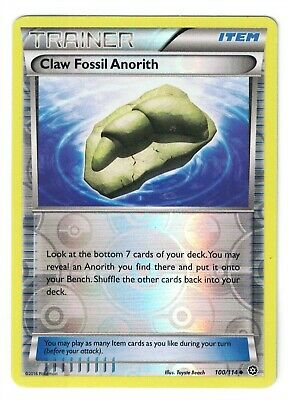 Pokemon XY Steam Siege, Claw Fossil Anorith 100/114 Common NM-M, Reverse Holo