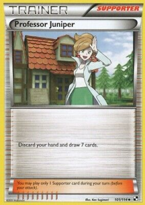 1x - Professor Juniper - 101/114 - Uncommon HP, English Pokemon Black and White