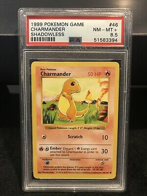 1999 Pokemon Base Set Shadowless 🔥Charmander🔥 PSA 8.5 (regrade 9?)