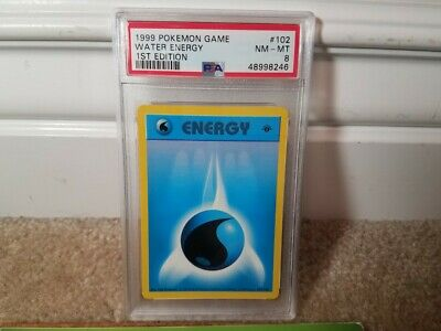 Psa 8 Nm-mt 1999 Pokemon Base Set 1st Edition Water Energy Card 102/102 Thick