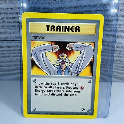 1x Fervor Trainer 124/132 Gym Challenge Pokemon Card Very Good