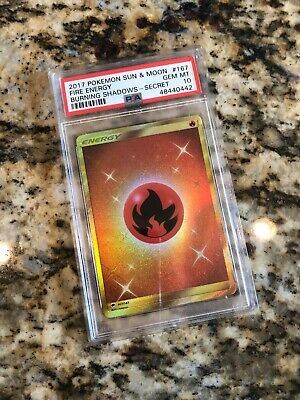 PSA 10 MINT 2017 Sun & Moon Fire Energy #167 Burning Shadows Secret Rare Pokemon