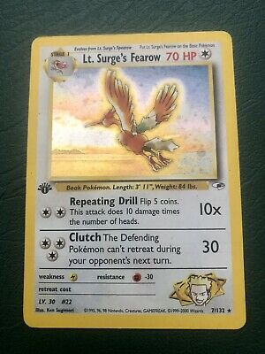 Pokemon Lt. Surge's Fearow 1st Edition Gym Heroes 7/132 Holo Rare *LP - See Pix*