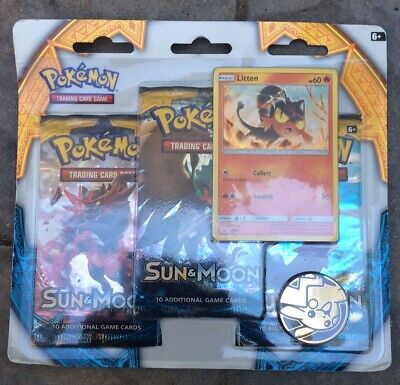 Pokemon Sun & Moon 3 Pack With Litten Promo Sealed Free Shipping