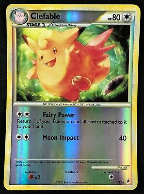 Pokemon Card Clefable Call of Legends 1/95 EXCELLENT Reverse Holo Rare TCG!!!!!!