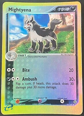 Pokemon Card Mightyena (EX Ruby & Sapphire) 42/109 PLAYED Reverse Holo Uncommon!