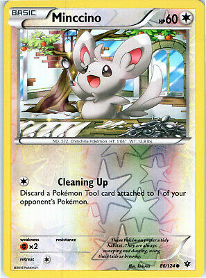 Fates Collide Reverse Holo Minccino 86/124 Pokemon Trading Card LP NM