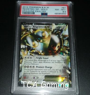 PSA 8.5 NM-MINT+ Registeel EX 81/124 BW Dragons Exalted HOLO RARE Pokemon Card