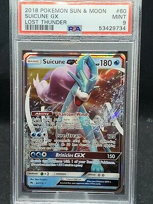 Pokemon card Lost Thunder Suicune GX holo 60/214 PSA 9 Mint