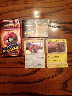 Pokemon Detective Pikachu & Holo Lickitung Exclusive Rare Theater Pack