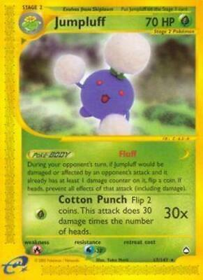 Moderately Played, English - 1 x Pokemon Jumpluff - 17/147 - Rare Aquapolis