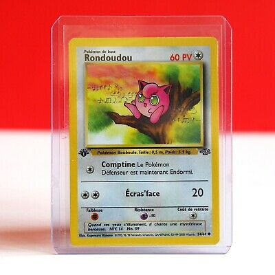 Nintendo Pokemon Jigglypuff French Rondoudou 1st Edition Jungle Set Trading Card