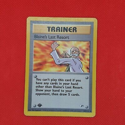 Blaine's Last Resort 105/132 1st Edition Rare Gym Heroes WOTC Pokemon Card