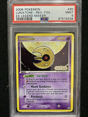 2006 Pokemon EX Legend Maker Lunatone Reverse Foil 20/92 PSA 9 Mint