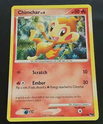 2007 Pokemon Diamond And Pearl Expansion Cosmos Set Chimchar Holo Card, 14/17