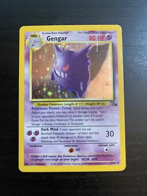 😈Gengar😈 5/62 Holo - Rare - Pokemon Card - Fossil Set - 1999 - Played
