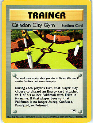 Gym Heroes Unlimited Celadon City Gym 107/132 Pokemon Trading Card LP NM
