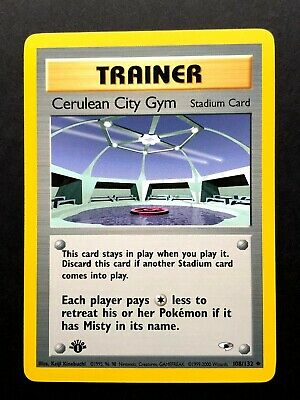 Cerulean City Gym 108/132 1st First Edition Gym Heroes Pokemon Card NM/VLP