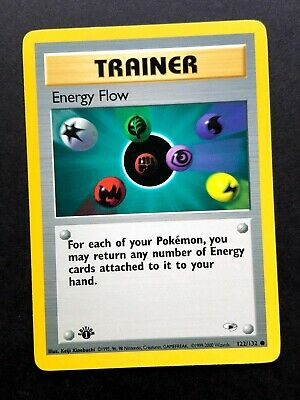 Energy Flow 122/132 1st First Edition Gym Heroes Pokemon Card NM/VLP