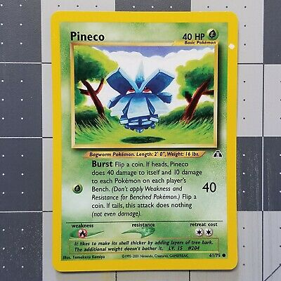 Pineco Misprint Error White Dot Pokemon Card Neo Discovery 61/75