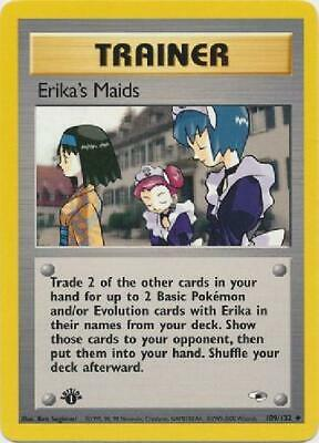 Erika''s Maids- 109/132 - Uncommon 1st Edition Near Mint Gym Heroes Pokemon