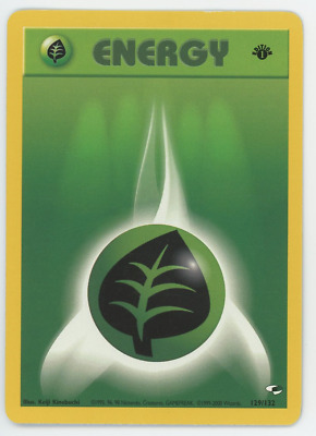 Grass Energy 129/132 NM Pokemon Card Gym Heroes 1st Edition Common 2000 WOTC