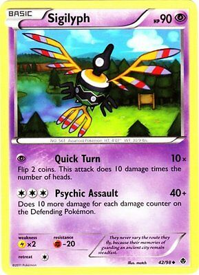 x4 Sigilyph - 42/98 - Uncommon Pokemon BW2 Emerging Powers M/NM English