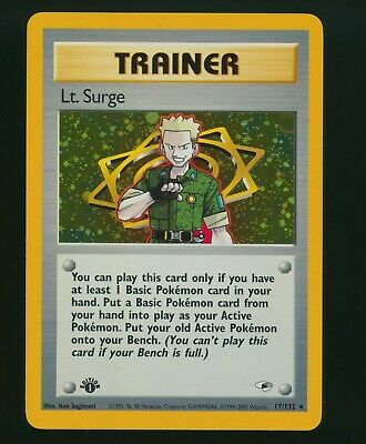 2000 Pokemon Gym Heroes Lt. Surge Trainer Holo 1st Edition 17/132