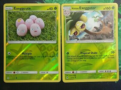 Pokemon Forbidden Light Set of 2 Cards Exeggcute + Alolan Exeggutor REVERSE - NM