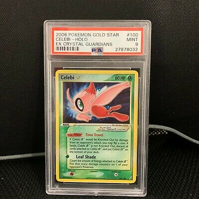 Pokemon Psa 9 Mint Celebi Gold Star 2006 Ex Crystal Guardians 100/100 Holo Card
