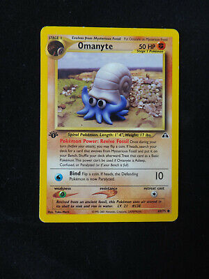 Pokemon Card: OMANYTE - #60/75 Neo Discovery - 1st Edition Non-Holo Common - NM