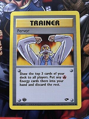 1st Edition Fervor 124/132 - Gym Challenge Pokemon Trainer Card - LP-NM