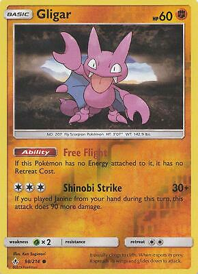 Pokemon Gligar 98/214 Unbroken Bonds Common Reverse Holo Near Mint