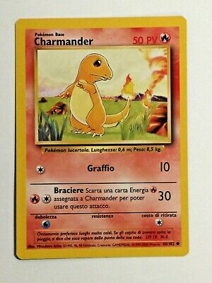 Pokemon Card Base Set Italian Charmander 46/102. Vintage. WoTC