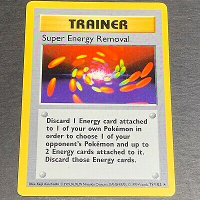 Pokemon SHADOWLESS Base Set RARE Super Energy Removal 79/102 - Excellent (E.X.)