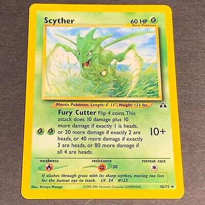 Pokemon Neo Discovery Set UN-COMMON Scyther 46/75 - Near Mint (NM) Condition
