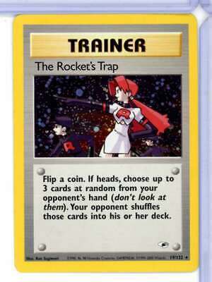 2000 Pokemon Gym Heroes The Rocket's Trap Trainer Holo Rare 19/132 Z3343
