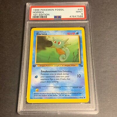 Pokemon PSA 9 1st Ed. Fossil Set COMMON Horsea 49/62 - PSA Graded MINT 9