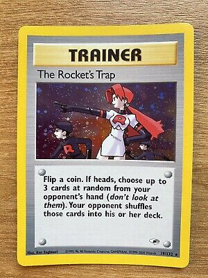 Pokemon Trading Card  Holo  Gym Heroes TRAINER The Rocket's Trap 19/132 englisch