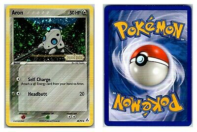 Aron 48/92 Reverse Holo Stamped Legend Maker Pokemon Card Exc- LP Cond .