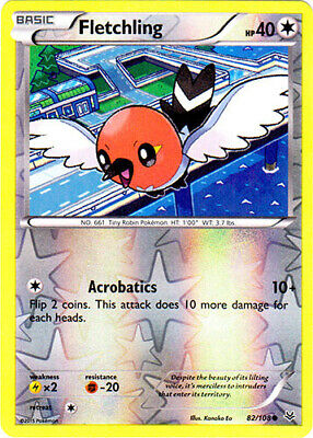 1x Fletchling - 82/108 - Common - Reverse Holo Roaring Skies Pokemon Near Mint