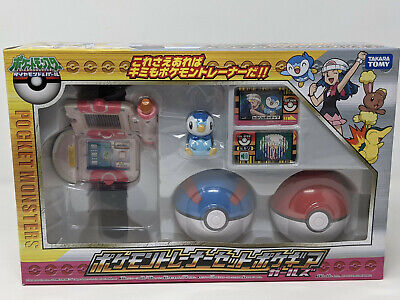 RARE Pokemon Diamond Pearl Trainer Set Pokegear Girl Watch Toy Piplup Tomy Japan